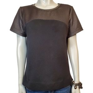 Club Monaco Black Coated Quilted Tee Size L